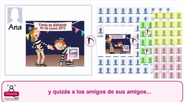 Captura del 2º vídeo que muestra las consecuencias de las etiquetas sin permiso en las redes sociales