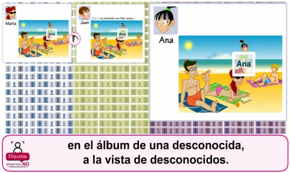 Captura del nuevo vídeo que explica los problemas de las etiquetas sin permiso en redes sociales